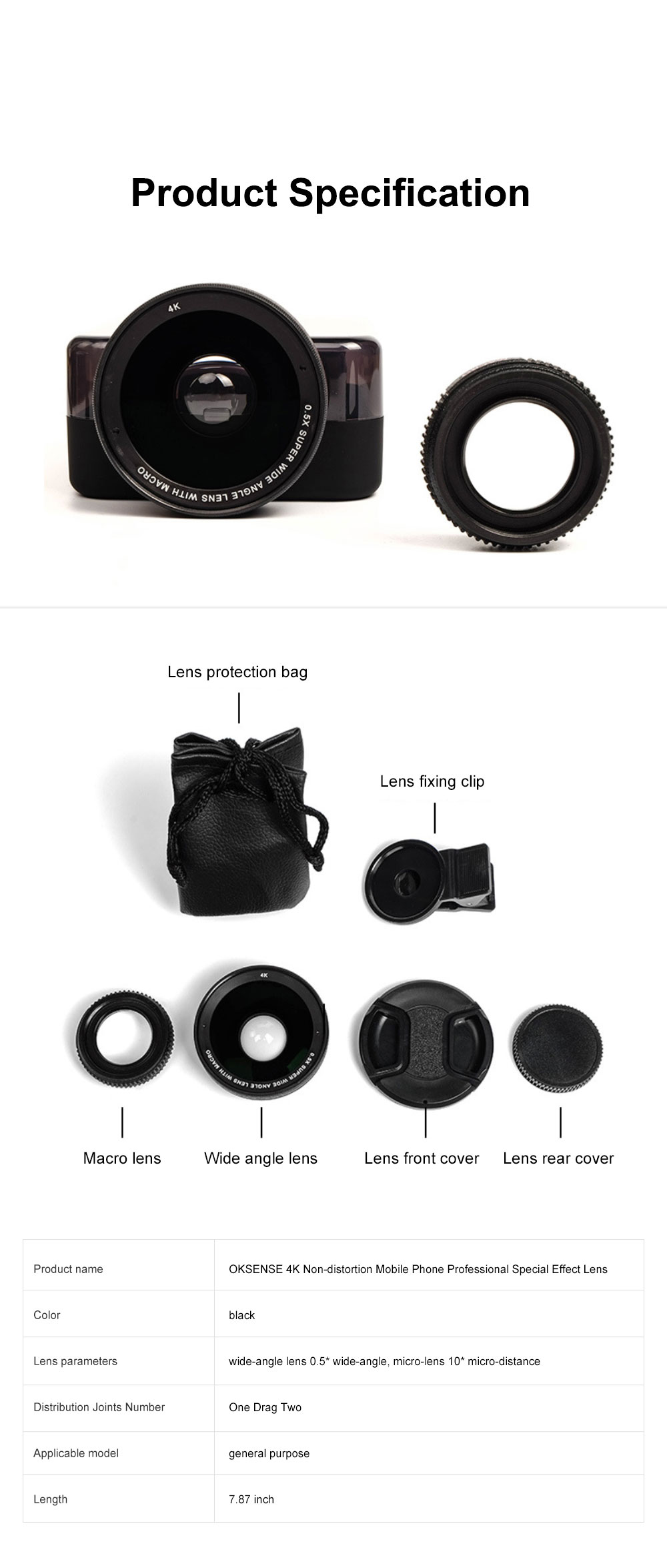 OKSENSE 4K Non-distortion Professional Mobile Phone Camera Lens Special Effect Lens Super Wide-angle Micro-range Camera Lens 6