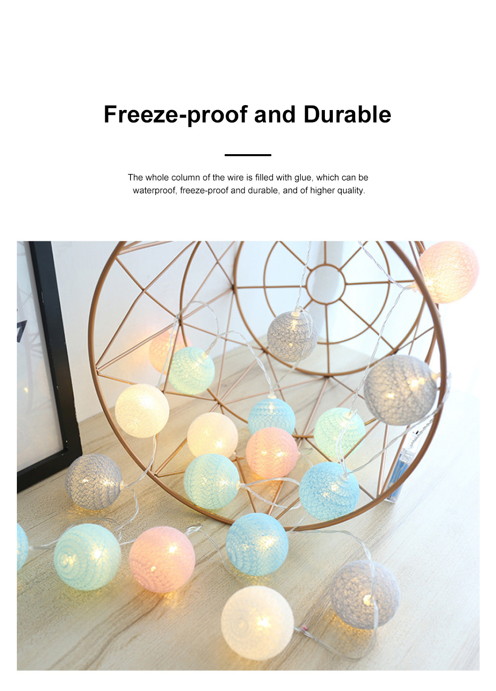 Decorative LED Cotton Ball Lamp String Children's Room Decorations Lights Lovely Fairy Lights Christmas Lights 3