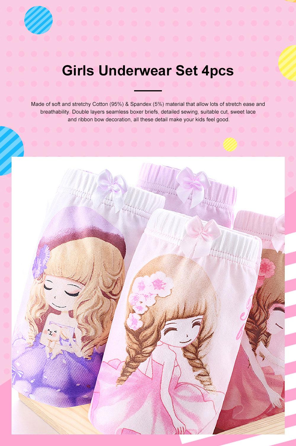 4pcs Girls Underwear Organic Cotton Boxer Briefs Cute Underwear Set for Girls 3-14 Years Old 0