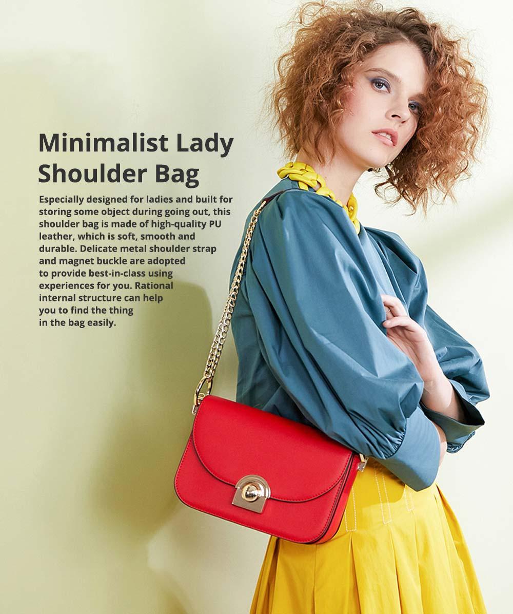 Smooth Scratching-poof PU Leather Women Shoulder Bag, Fashion Minimalist Casual Metal Shoulder Strap Magnet Buckle Bag 0