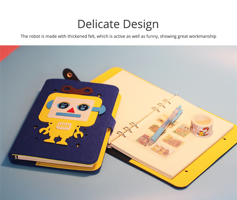 Creative Notebook with Bright Robot Design Felt Material Grid Horizontal Line for Student Kids 2