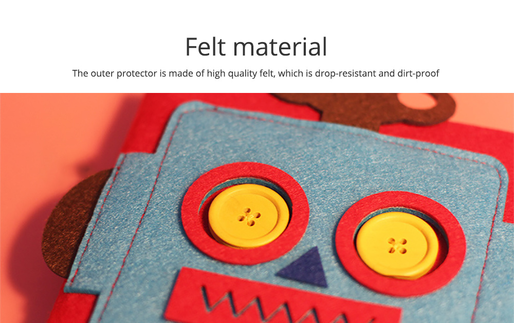 Creative Notebook with Bright Robot Design Felt Material Grid Horizontal Line for Student Kids 1