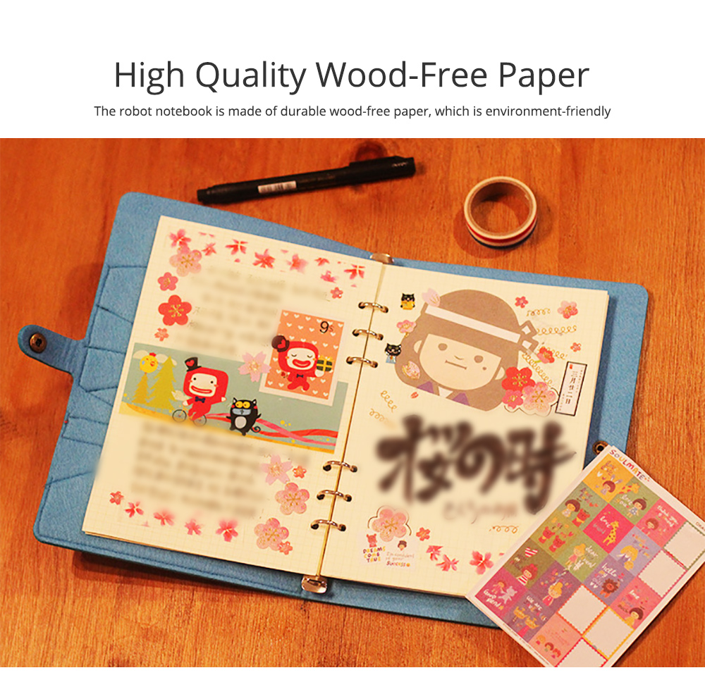 Creative Notebook with Bright Robot Design Felt Material Grid Horizontal Line for Student Kids 3
