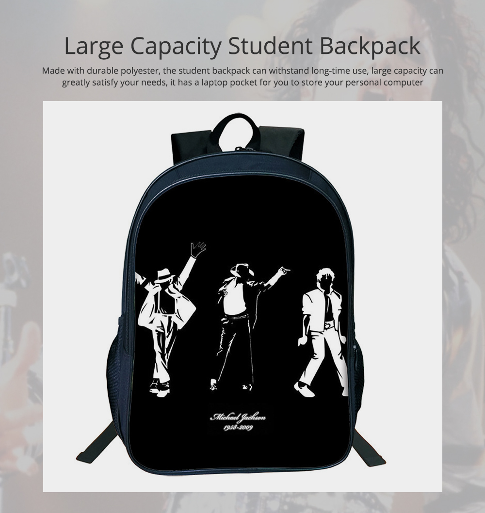 Student Backpack with Double Layer Large Capacity MJ Pattern Shoulder Bag With Elastic Side Pocket 0