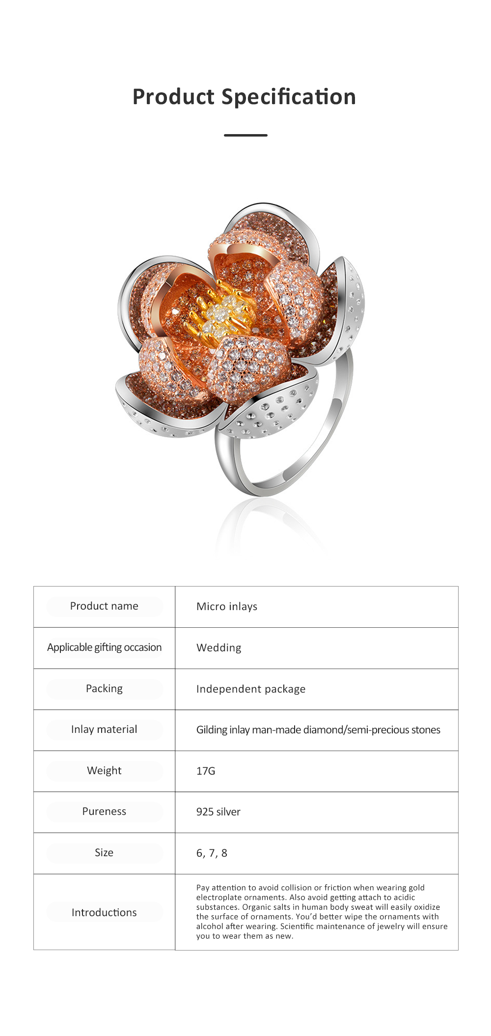 2020 Latest European Style S925 Silver Lotus Flower Ring in Vogue, Easy Matching Glittering Zircon Diamond Ring 5