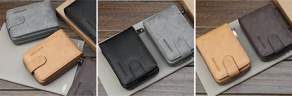 Men Stylish PU Wallet with Organ Shape Card Slot Large Capacity Card Bag with Smooth Zipper 2