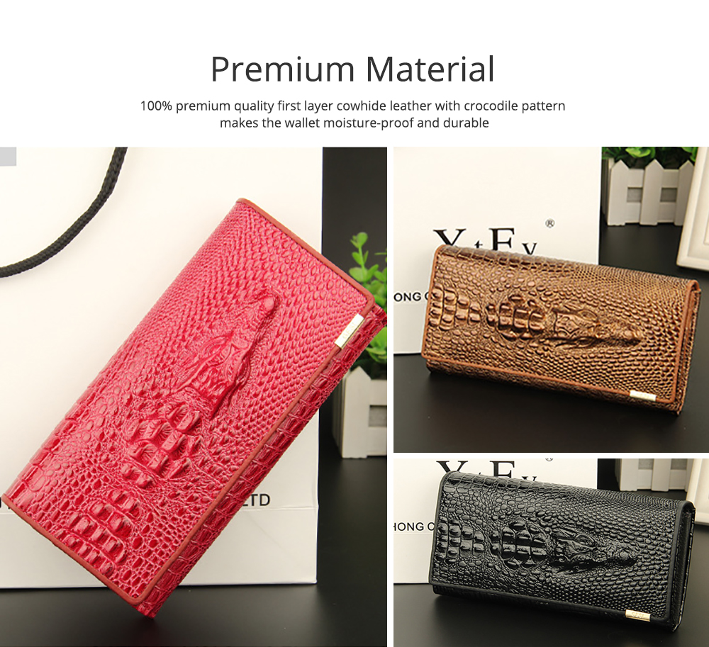 Stylish Women Long Purse with Crocodile Grain Textured Large Capacity Clutch Zipper Bag 1