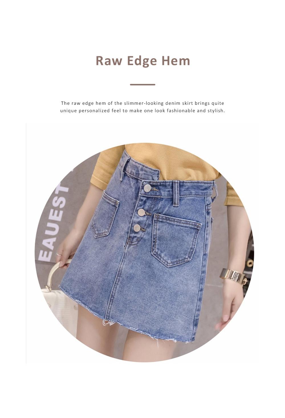 Close-fitting Irregular Denim Skirt for Women in Summer High-waisted Slimmer-looking Sheath Dress Hairy Brim Jean Midskirt Women Dress 3