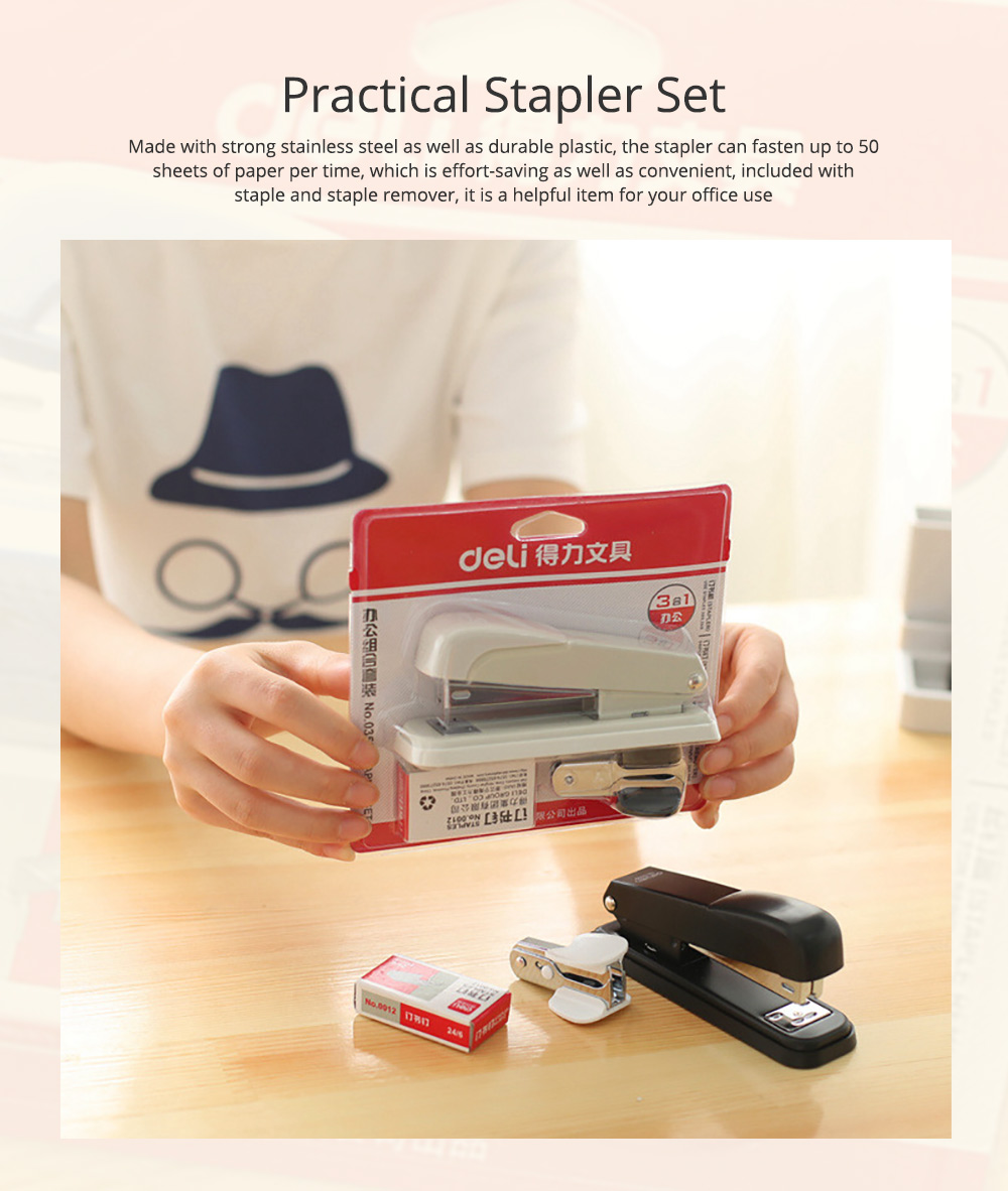 Practical Stainless Steel Stapler Set Included with Accessories Staples & Staple Remover 0