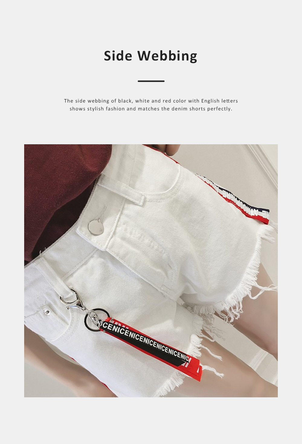 2019 High-waisted Denim Shorts Jeans Pants for Girl Students Wear Summer Loose Version Short Pants in Pure Black Color or White Color 2