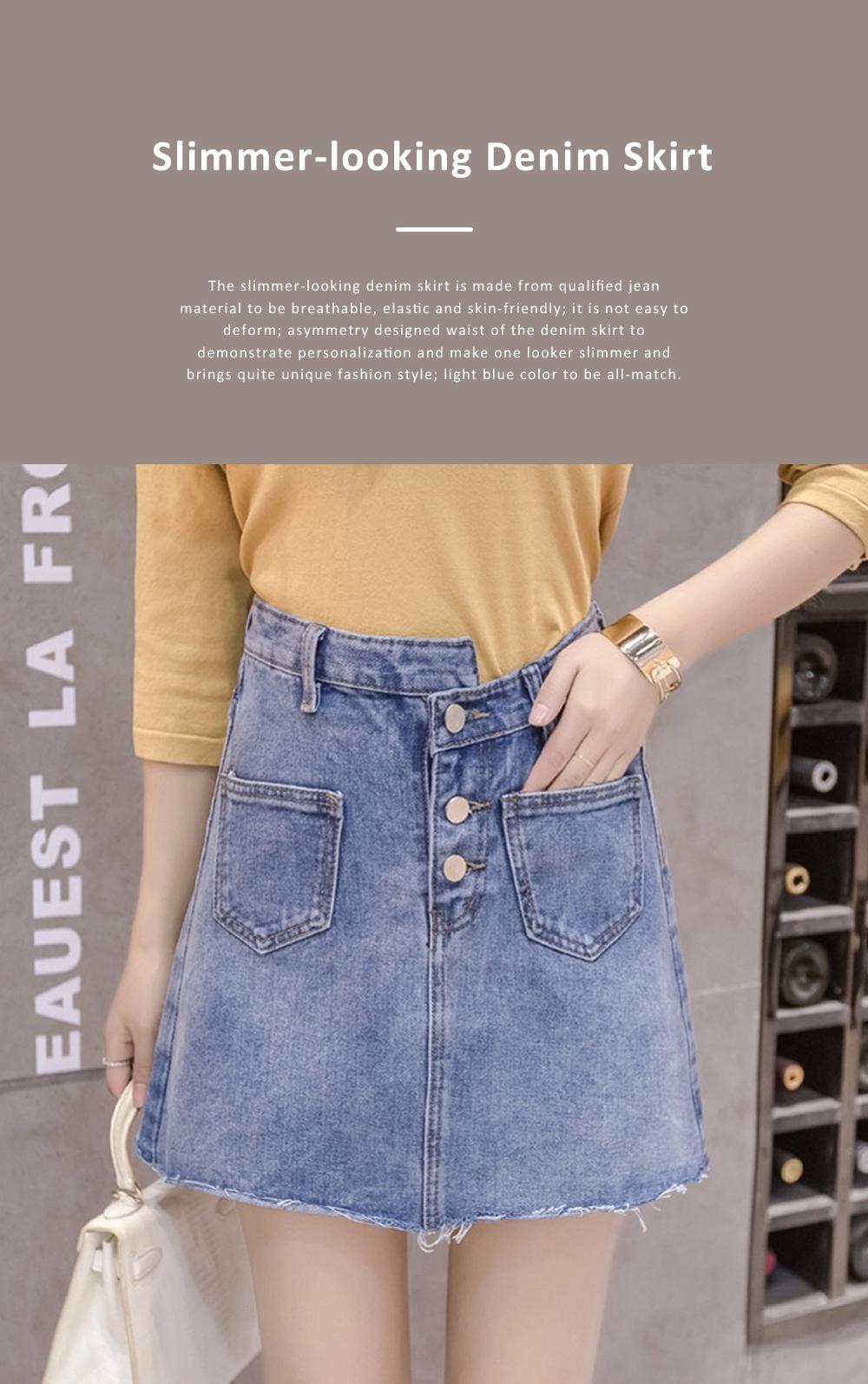 Close-fitting Irregular Denim Skirt for Women in Summer High-waisted Slimmer-looking Sheath Dress Hairy Brim Jean Midskirt Women Dress 0