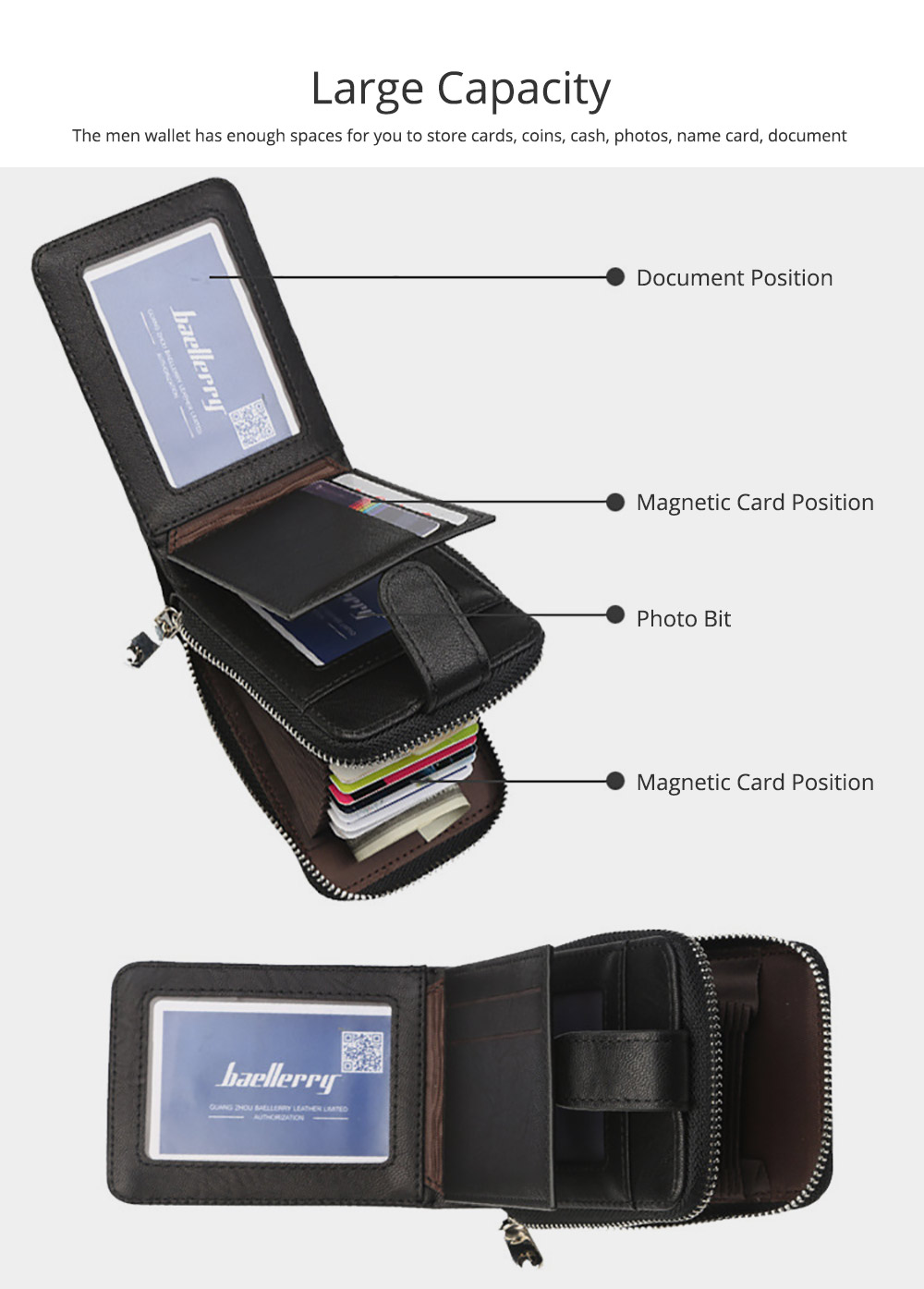 Men Stylish PU Wallet with Organ Shape Card Slot Large Capacity Card Bag with Smooth Zipper 3