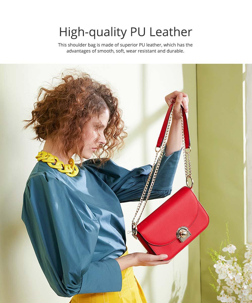 Smooth Scratching-poof PU Leather Women Shoulder Bag, Fashion Minimalist Casual Metal Shoulder Strap Magnet Buckle Bag 1