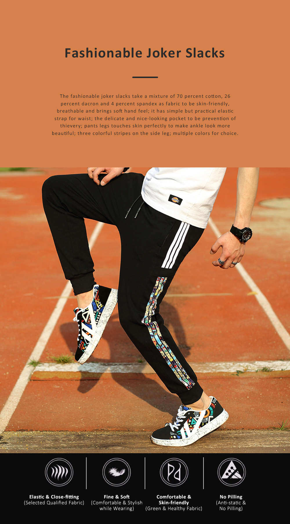 Mid-rise Close-fitting Slim-fit Pants for Male Youth Summer Fashionable Slacks Sports Pants No Belt Pencil Pants Men's Clothing 0