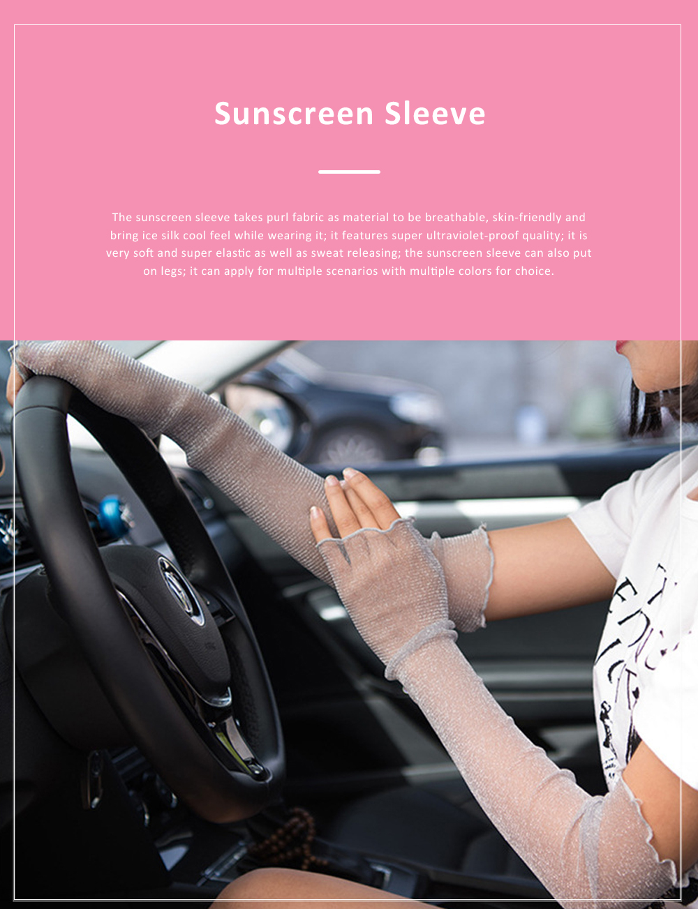 Super Elastic Sun Block Grenadine Sleeve for Women Driving Hiking Outdoor Ultraviolet-proof Anti Sunscreen 0