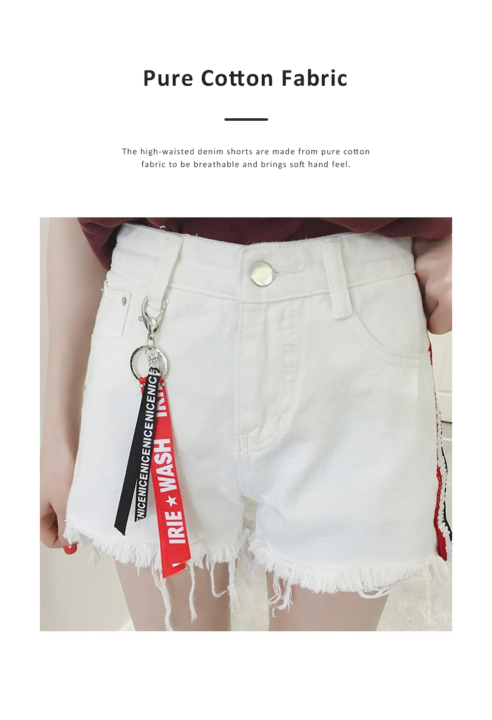 2019 High-waisted Denim Shorts Jeans Pants for Girl Students Wear Summer Loose Version Short Pants in Pure Black Color or White Color 1