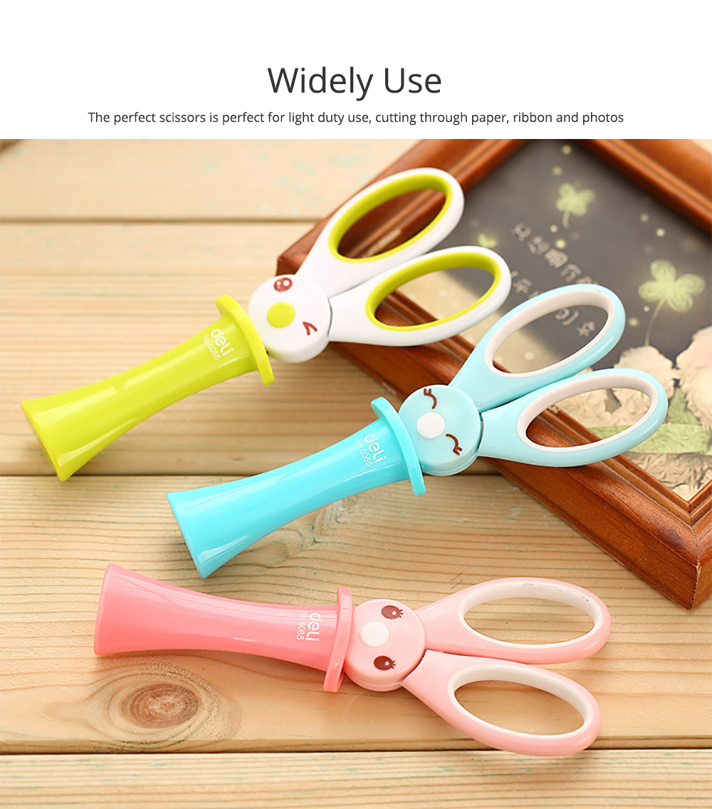 Student Scissor with Cute Rabbit Pattern Handwork Cutter with Magic Hat Shape Handle 5