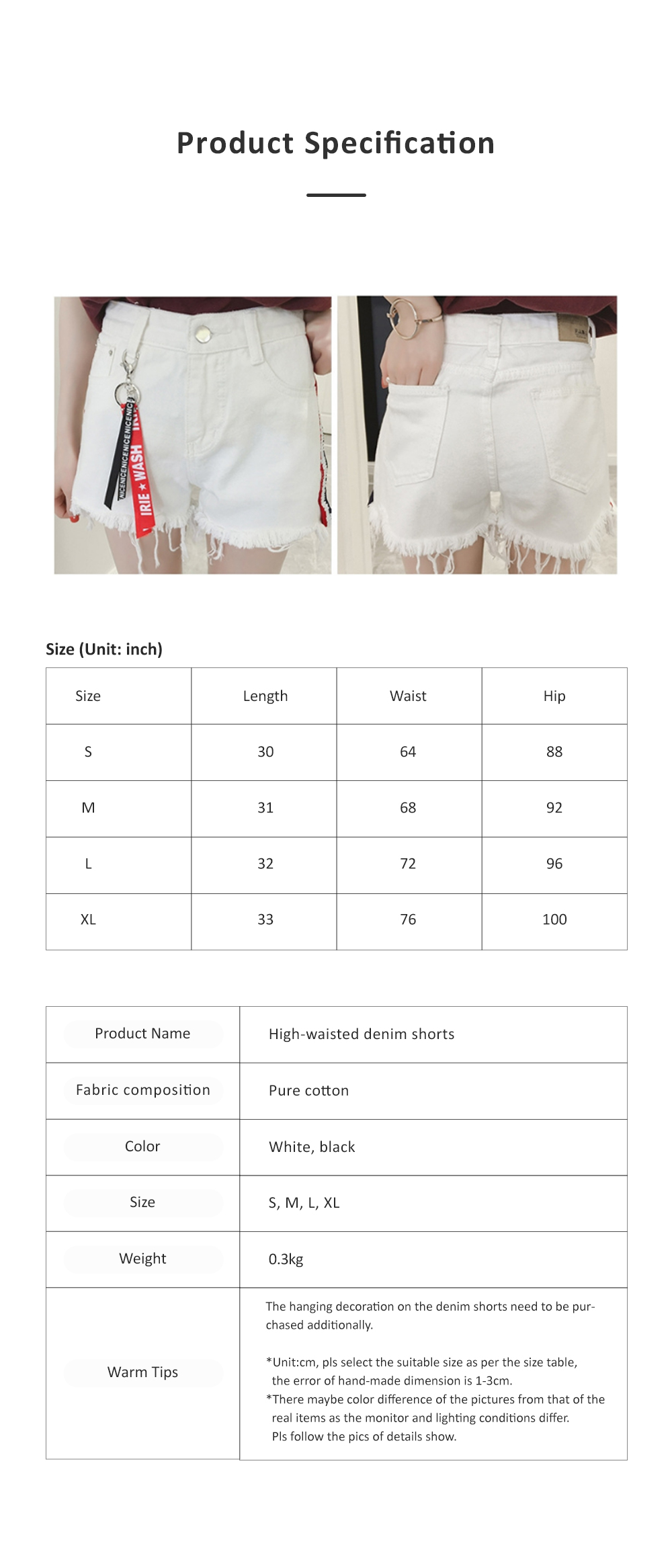 2019 High-waisted Denim Shorts Jeans Pants for Girl Students Wear Summer Loose Version Short Pants in Pure Black Color or White Color 6