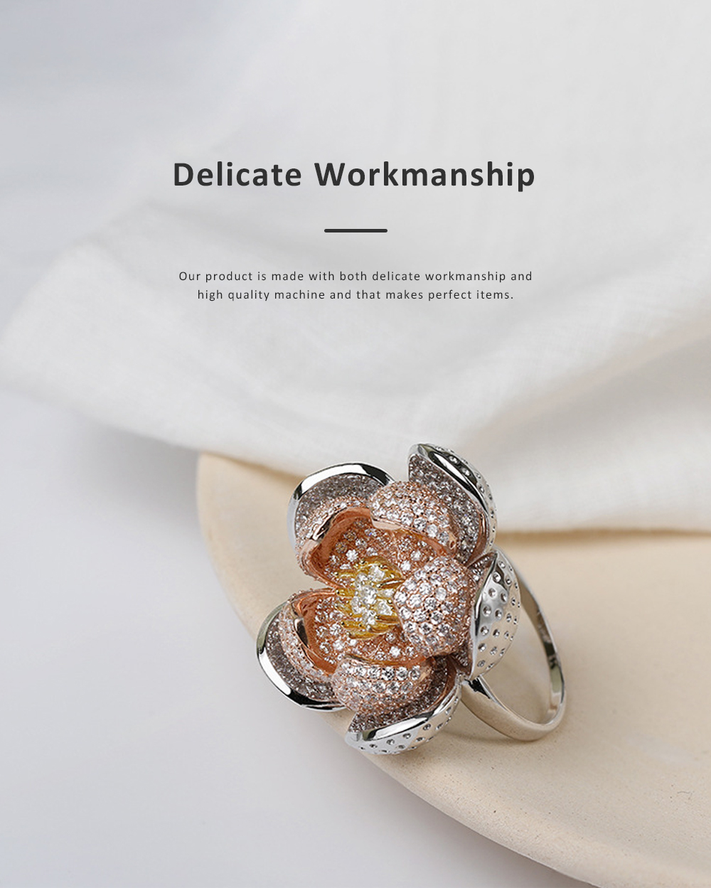 2020 Latest European Style S925 Silver Lotus Flower Ring in Vogue, Easy Matching Glittering Zircon Diamond Ring 3