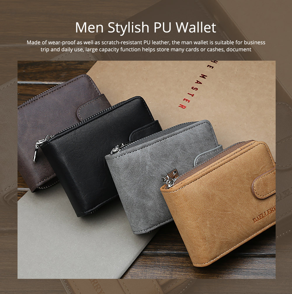 Men Stylish PU Wallet with Organ Shape Card Slot Large Capacity Card Bag with Smooth Zipper 0