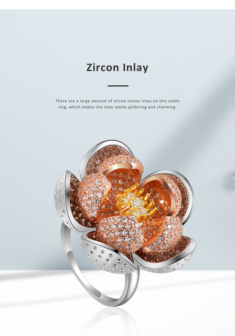 2020 Latest European Style S925 Silver Lotus Flower Ring in Vogue, Easy Matching Glittering Zircon Diamond Ring 2
