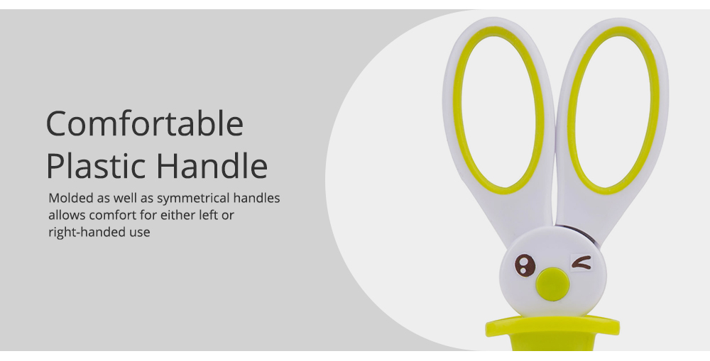 Student Scissor with Cute Rabbit Pattern Handwork Cutter with Magic Hat Shape Handle 3