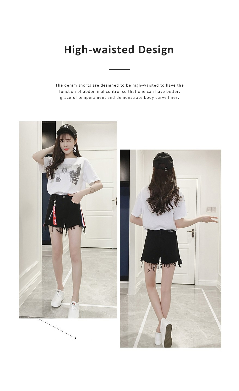 2019 High-waisted Denim Shorts Jeans Pants for Girl Students Wear Summer Loose Version Short Pants in Pure Black Color or White Color 3