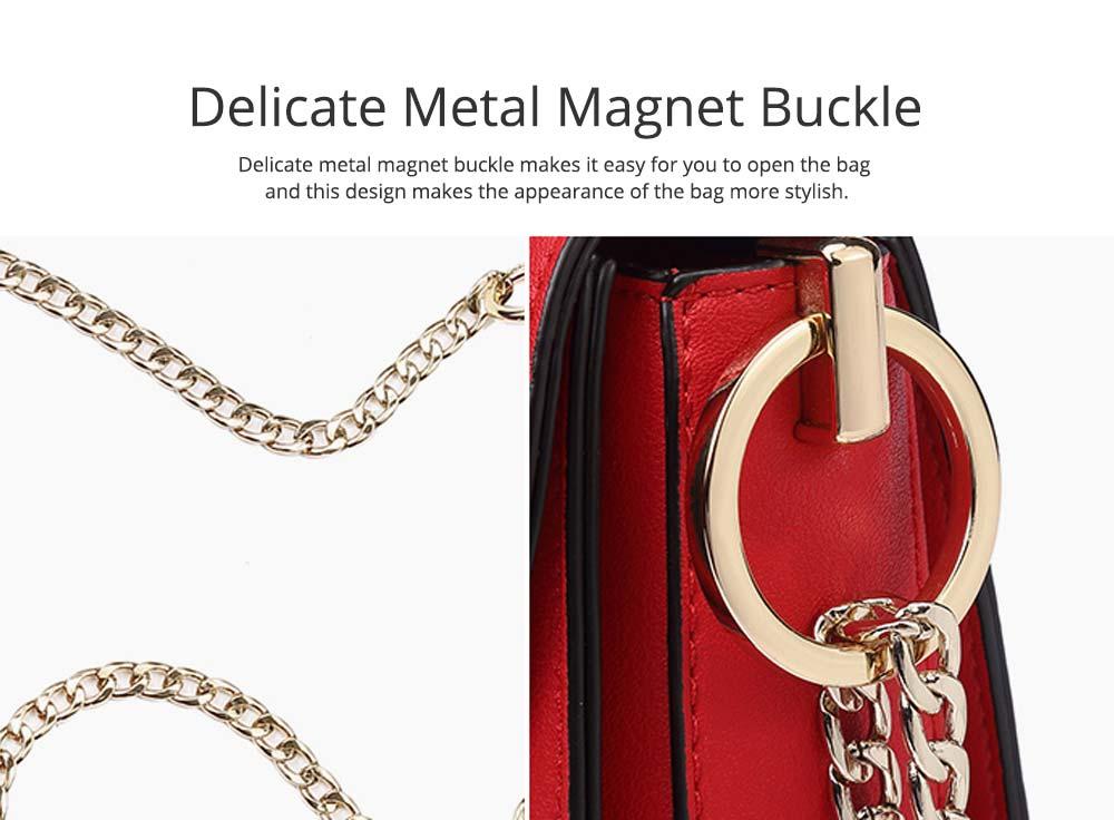 Smooth Scratching-poof PU Leather Women Shoulder Bag, Fashion Minimalist Casual Metal Shoulder Strap Magnet Buckle Bag 3