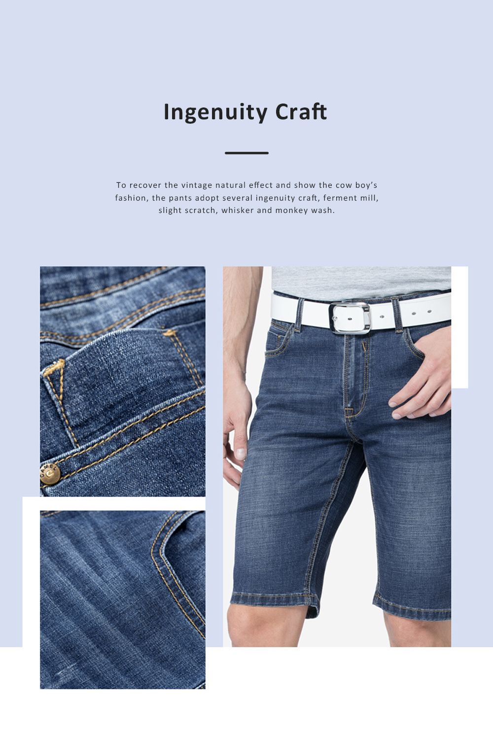 2019 New Leisure Style Loose Denim Shorts, Soft & Comfortable Thin Sports Mid-rise Jeans Pants 5