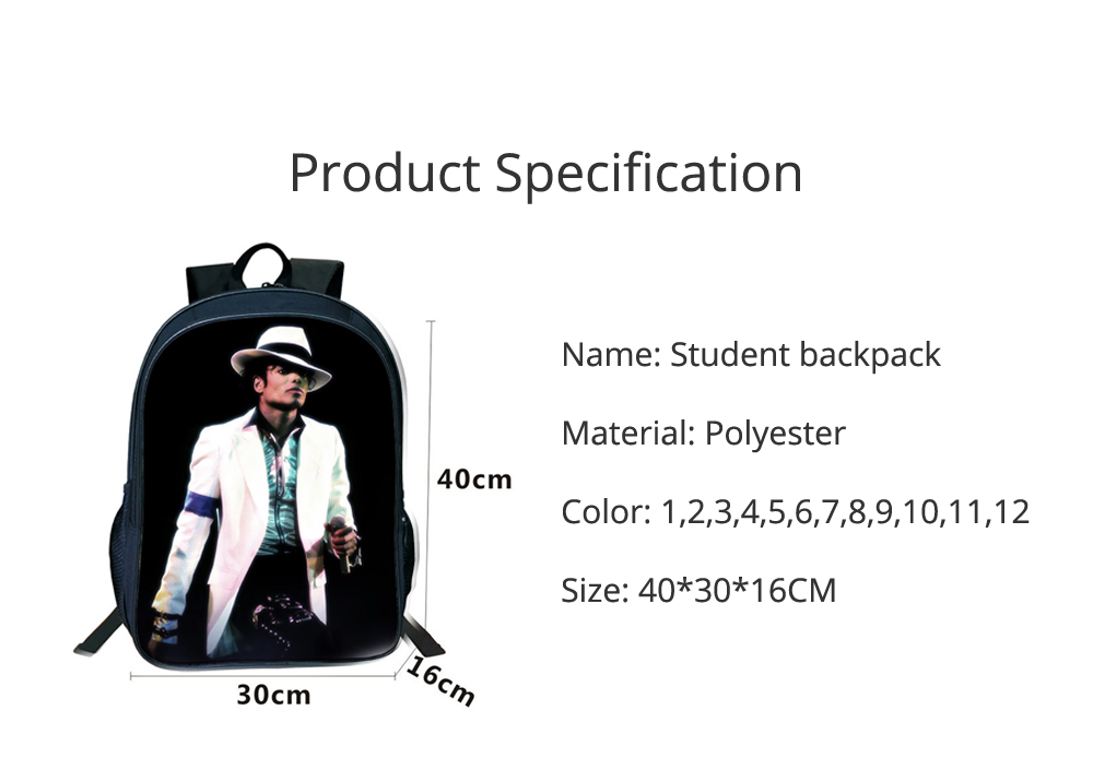 Student Backpack with Double Layer Large Capacity MJ Pattern Shoulder Bag With Elastic Side Pocket 5