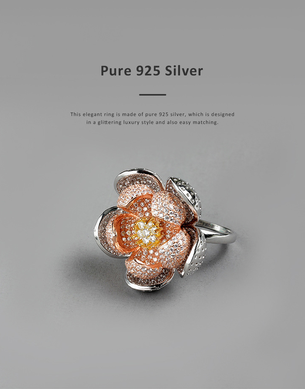 2020 Latest European Style S925 Silver Lotus Flower Ring in Vogue, Easy Matching Glittering Zircon Diamond Ring 4