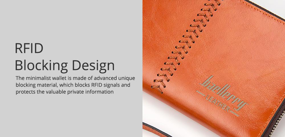 RFID Blocking Wallet Long Handbag Large Capacity PU Leather Clutch Bag Multi-Card Holder Organizer Phone Bag for Men 4
