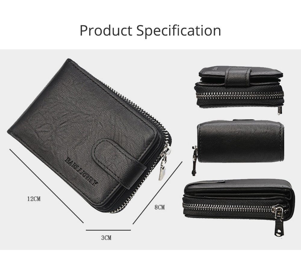 Men Stylish PU Wallet with Organ Shape Card Slot Large Capacity Card Bag with Smooth Zipper 7