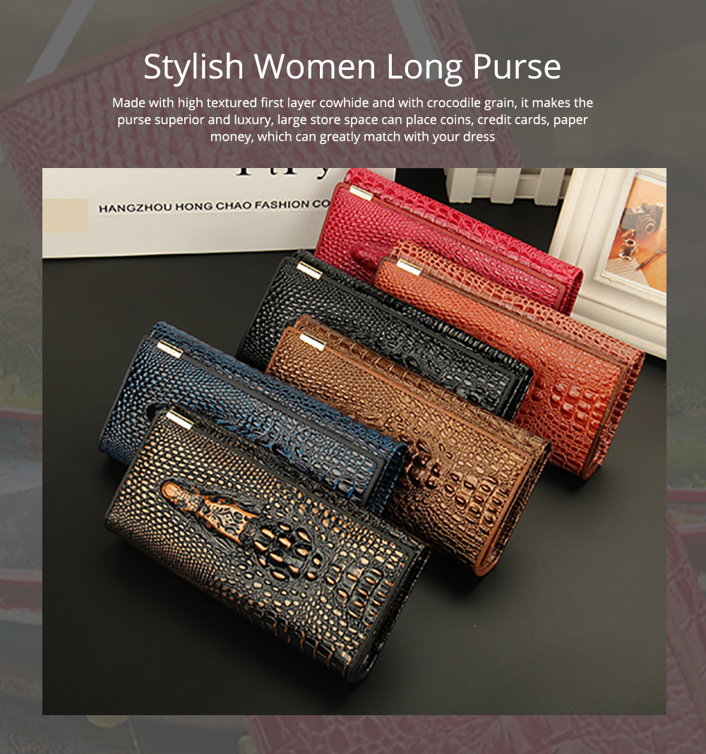 Stylish Women Long Purse with Crocodile Grain Textured Large Capacity Clutch Zipper Bag 0
