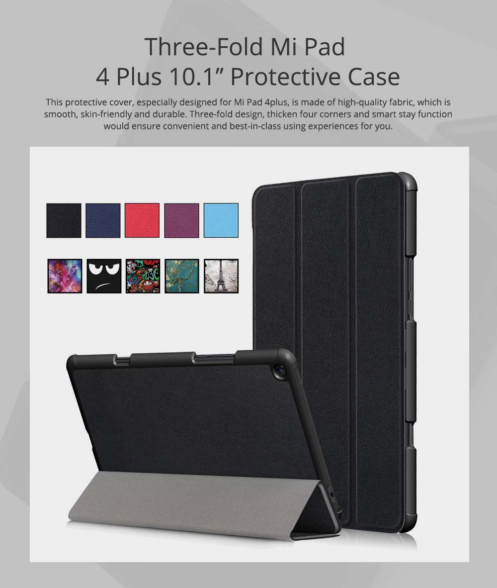 Functional 10.1'' Mi Pad 4 Plus Three Fold Protective Case, Scratch-Proof Skin-friendly Xiaomi Panel Computer Protection Cover Supporter 0