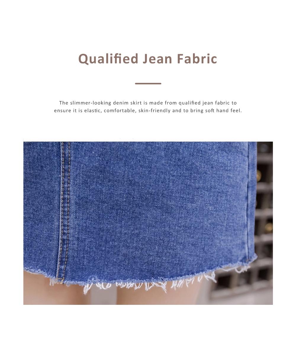 Close-fitting Irregular Denim Skirt for Women in Summer High-waisted Slimmer-looking Sheath Dress Hairy Brim Jean Midskirt Women Dress 1