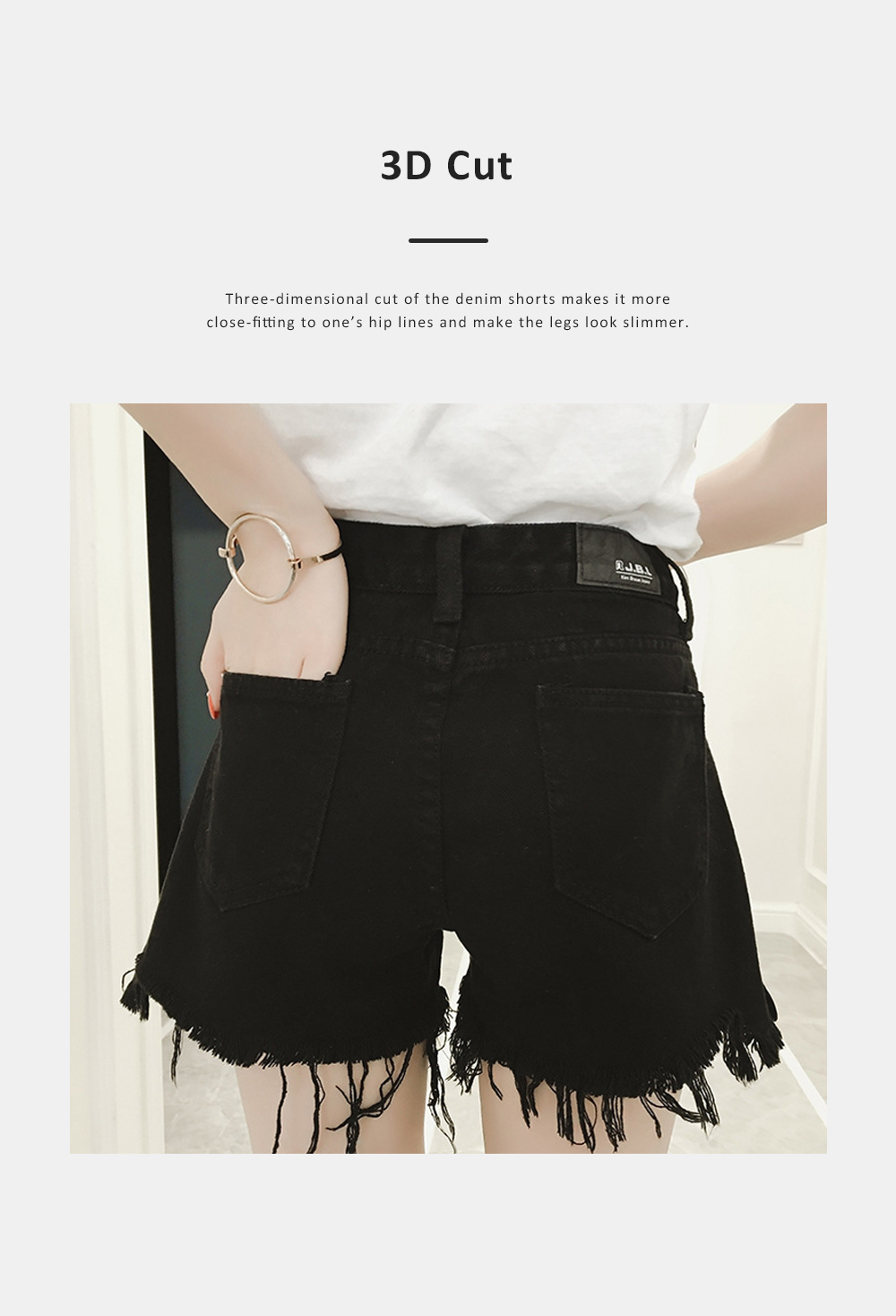 2019 High-waisted Denim Shorts Jeans Pants for Girl Students Wear Summer Loose Version Short Pants in Pure Black Color or White Color 4
