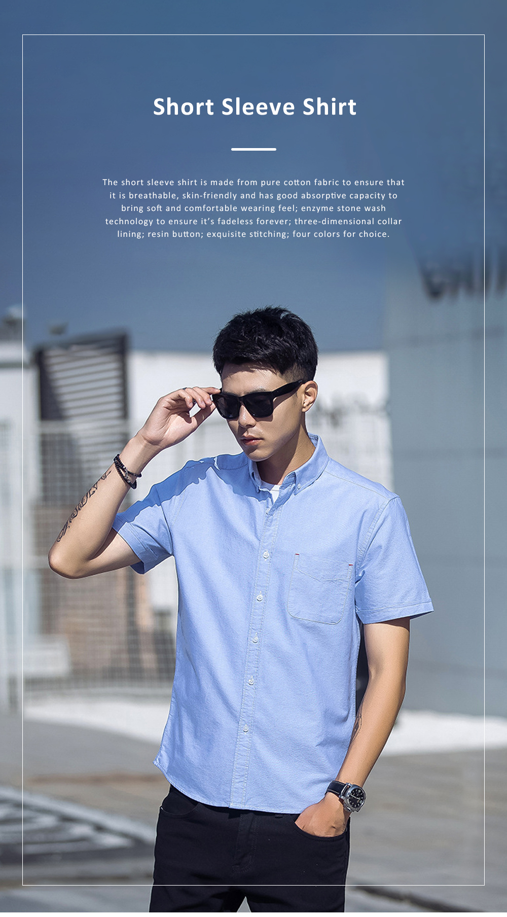 Pure Cotton Short Sleeve Shirt with Embroidered for Men's Daily Wear in Summer  Casual Style Simple Designed Pure Color Men Clothing 0