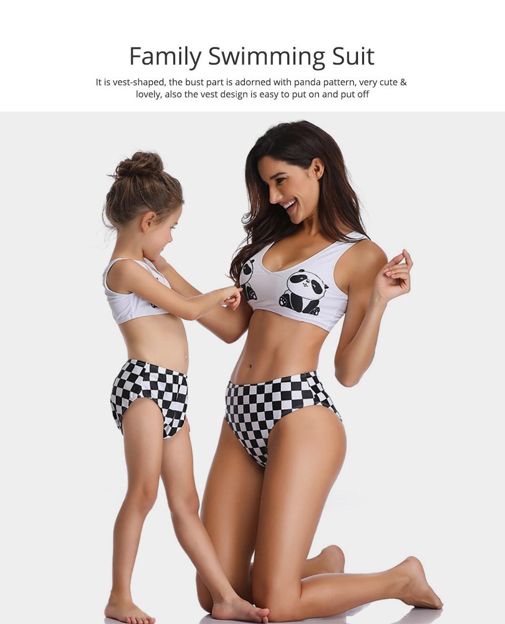 Panda Pattern Cute Mother and Daughter Swimming Suit Family Matching Swimwear 2