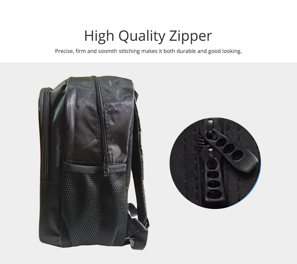 Student Backpack with Double Layer Large Capacity MJ Pattern Shoulder Bag With Elastic Side Pocket 1