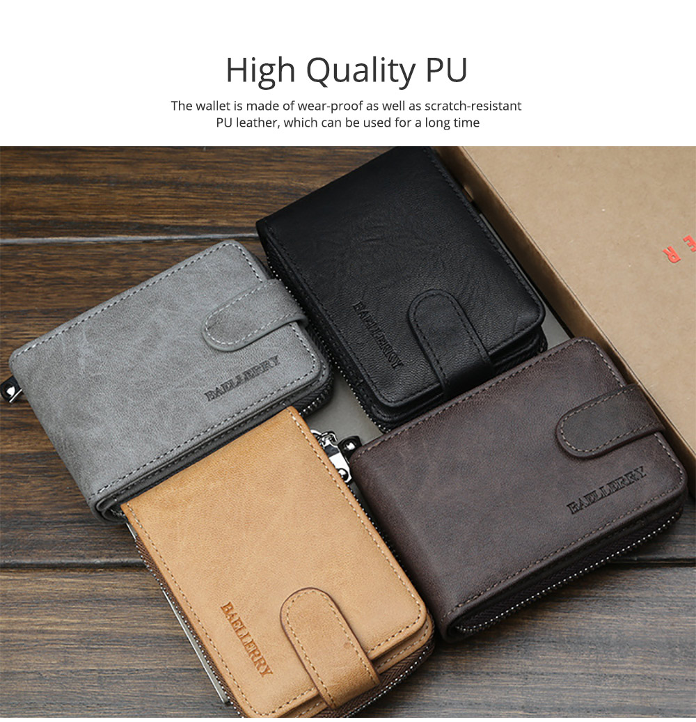 Men Stylish PU Wallet with Organ Shape Card Slot Large Capacity Card Bag with Smooth Zipper 1