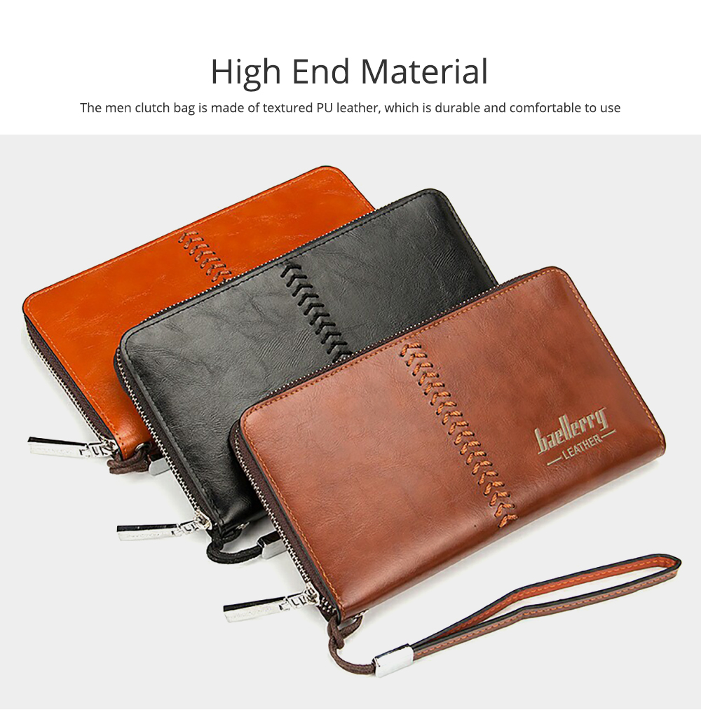 RFID Blocking Wallet Long Handbag Large Capacity PU Leather Clutch Bag Multi-Card Holder Organizer Phone Bag for Men 3