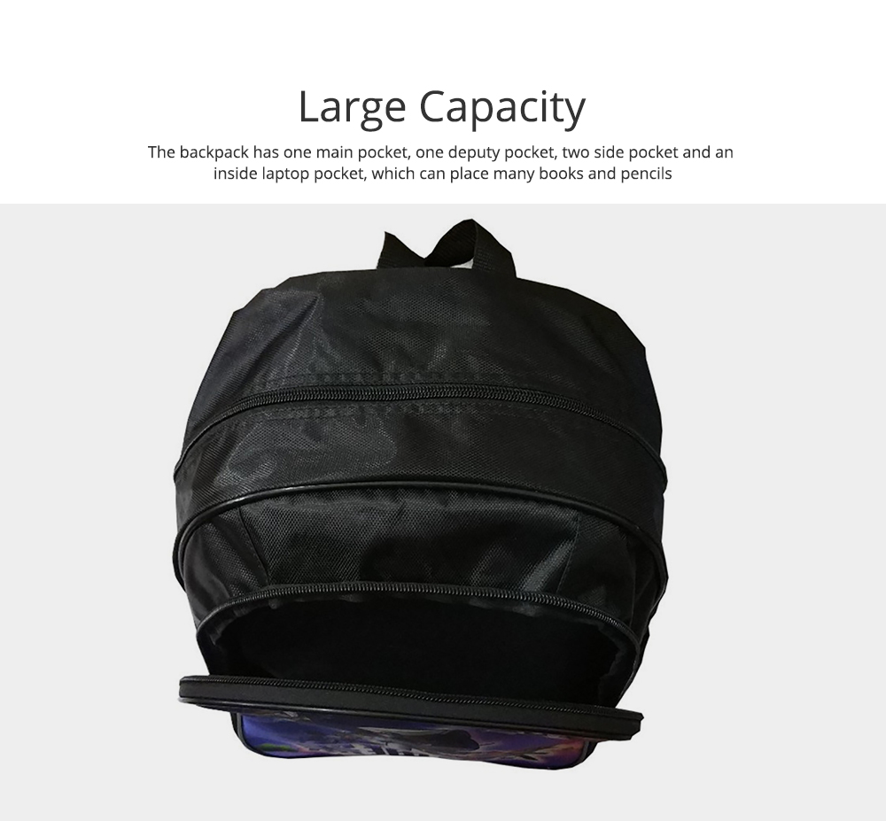 Student Backpack with Double Layer Large Capacity MJ Pattern Shoulder Bag With Elastic Side Pocket 2