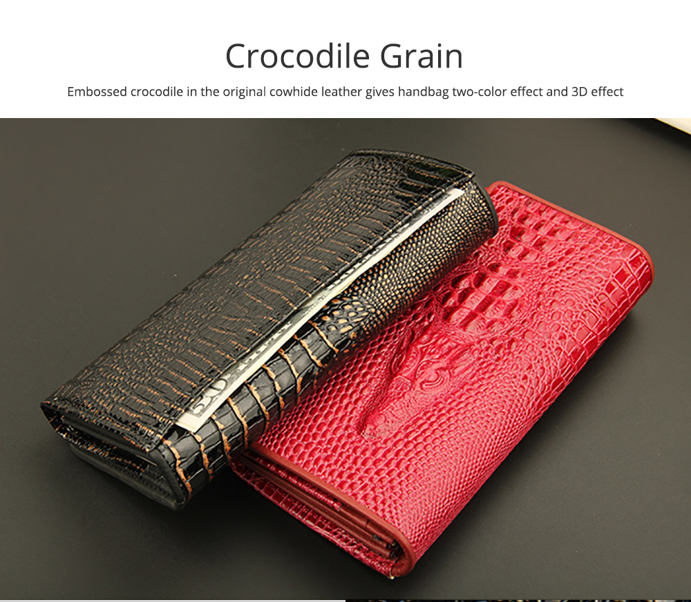Stylish Women Long Purse with Crocodile Grain Textured Large Capacity Clutch Zipper Bag 2
