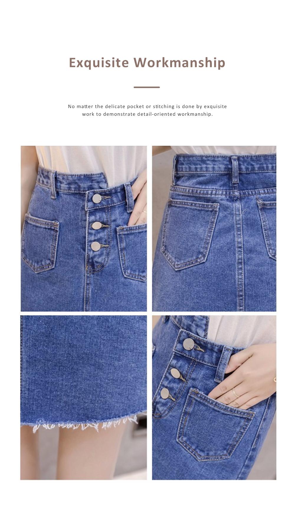 Close-fitting Irregular Denim Skirt for Women in Summer High-waisted Slimmer-looking Sheath Dress Hairy Brim Jean Midskirt Women Dress 5