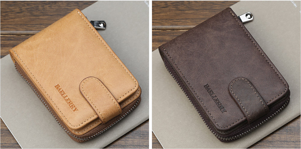 Men Stylish PU Wallet with Organ Shape Card Slot Large Capacity Card Bag with Smooth Zipper 9