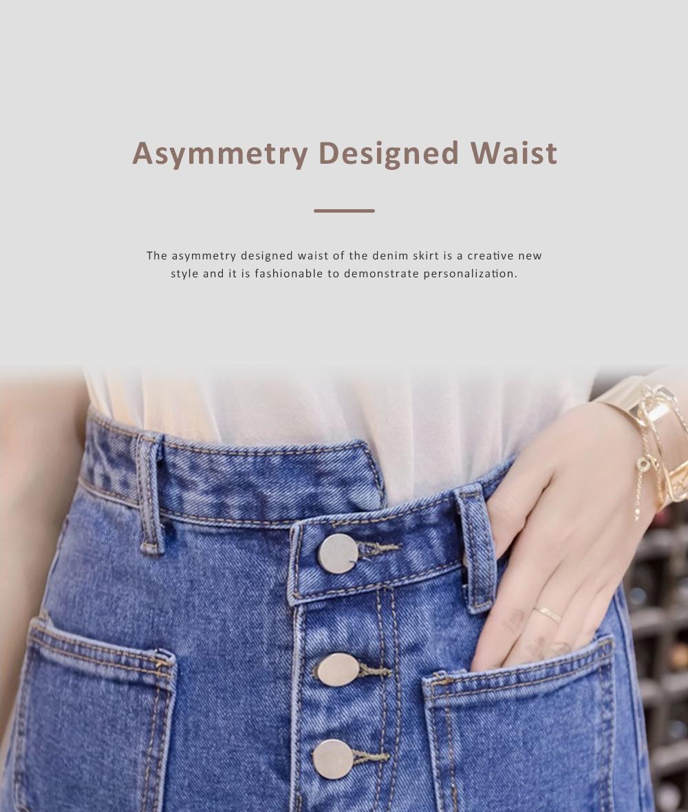 Close-fitting Irregular Denim Skirt for Women in Summer High-waisted Slimmer-looking Sheath Dress Hairy Brim Jean Midskirt Women Dress 2