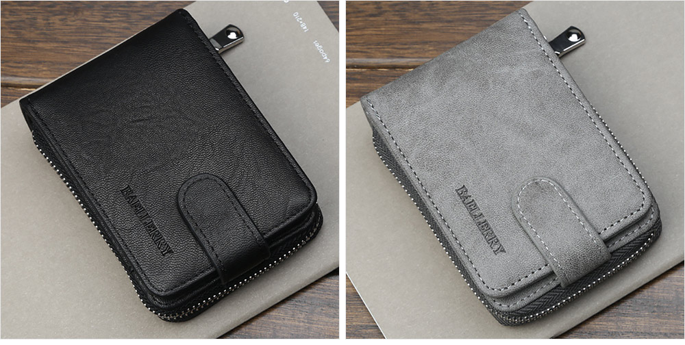 Men Stylish PU Wallet with Organ Shape Card Slot Large Capacity Card Bag with Smooth Zipper 8