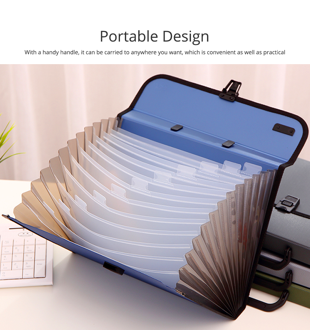 Portable Organ Shape File Folder with 13 Compartments Large Capacity Holder for Office School 5