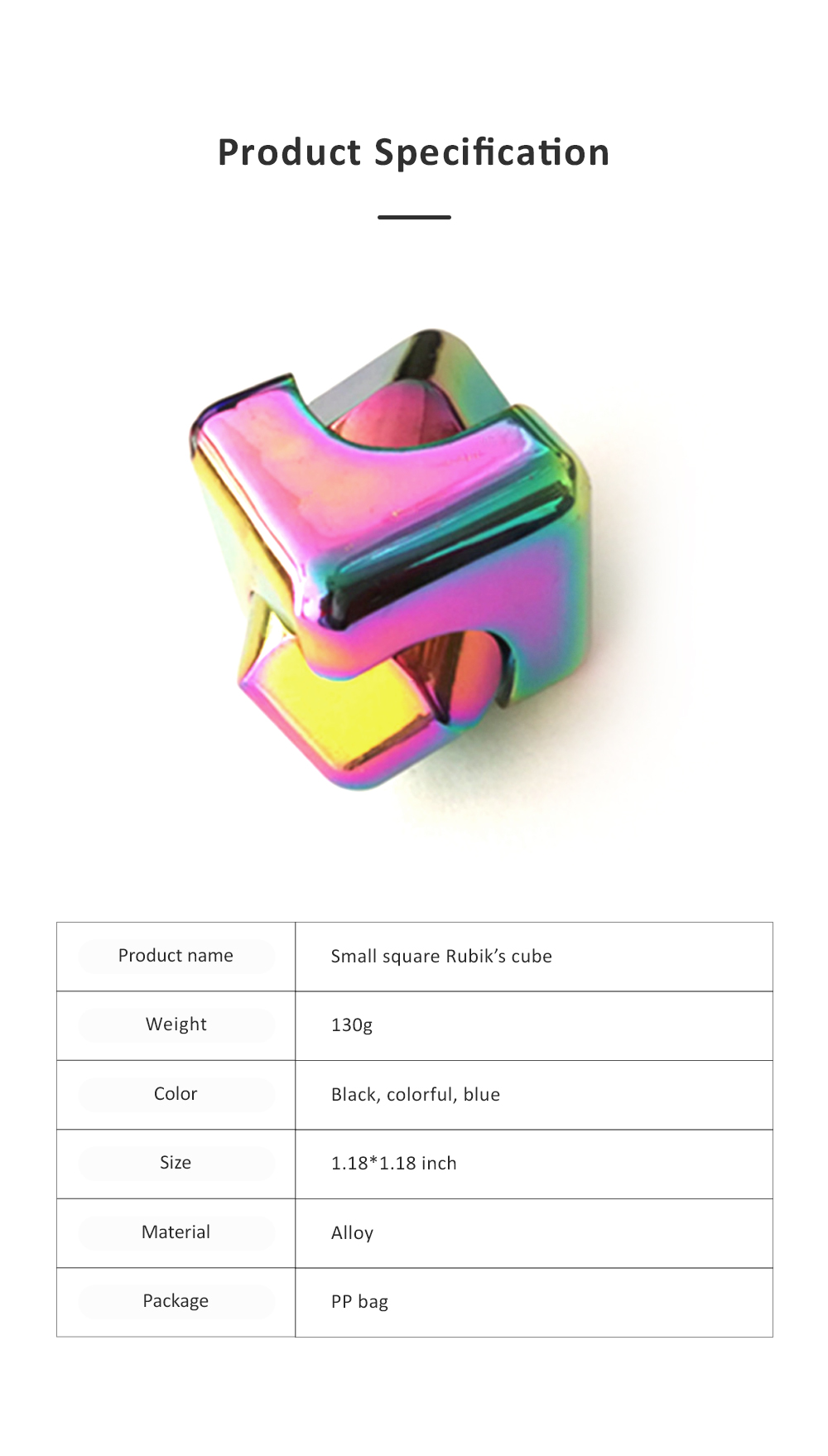 Small Delicate Colorful Laser Square Rubik's Cube Finger Spinner Fingers Coordination Training Fidget Toy Puzzle Game 7